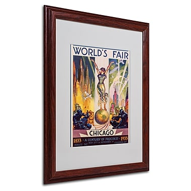 Glen Sheffer 'World's Fair Chicago' Matted Framed Art - 16x20 Inches - Wood Frame
