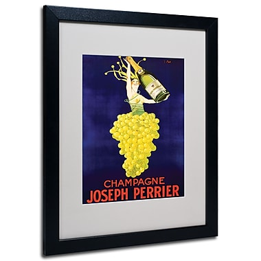 Trademark Fine Art 'Champagne Joseph Perrier' Matted Art Black Frame 16x20 Inches