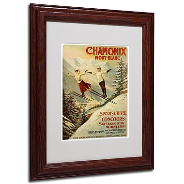 F.Tamanjo 'Chamonix Mont Blanc' Framed Matted Art - 11x14 Inches - Wood Frame