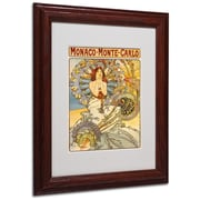 Alphonse Mucha 'Monaco-Monte Carlo' Matted Framed Art - 11x14 Inches - Wood Frame