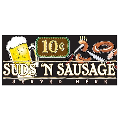 Trademark Fine Art Suds 'n Sausage by Ayr*Line-Ready to Hang Art 10x24 Inches