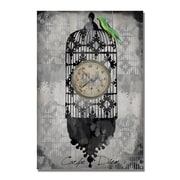 Trademark Fine Art Working Girl Design Bird Cage Clock' Canvas Art 22x32 Inches