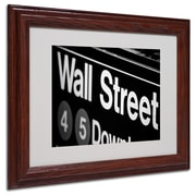 Yale Gurney 'Wall Street Next' Matted Framed Art - 11x14 Inches - Wood Frame