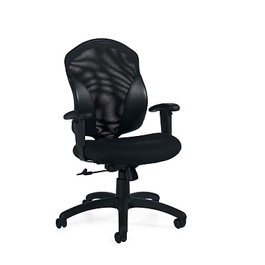 Global Tye Fabric Computer and Desk Office Chair, Adjustable Arms, Black Coal (QS19514UR22)