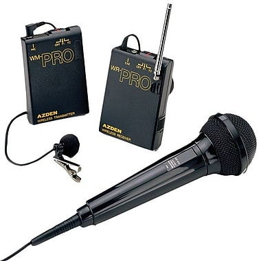 Azden® 3.3in.H x 2.4in.W x 0.85in.D PRO VHF Lavalier and Wired Hand-Held Wireless Microphone System