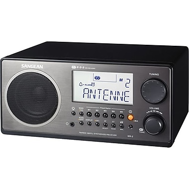 Sangean WR-2 AM/FM Wooden Cabinet Digital Tuning Receiver, Black