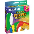 Maxell® Plastic CD/DVD Sleeve, Assorted, 50/Pack