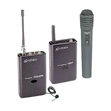 Azden® 3.1in.H x 6 1/4in.W x 11 1/2in.D UHF Lavalier and Hand-Held Microphone System