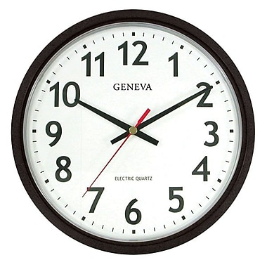 Geneva Electric Wall Clock, Black