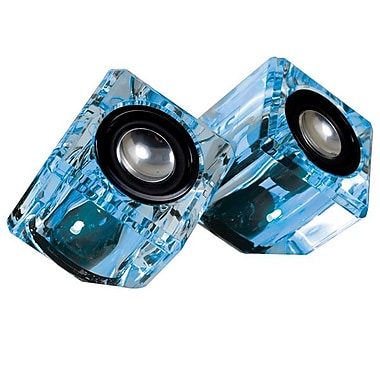 i.Sound® DGUN-2526 Ice Crystal Clear Compact Speaker For Portable 3.5 mm Devices, Blue