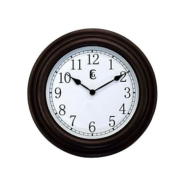 Geneva Plastic Wall Clock, Rustic Brown