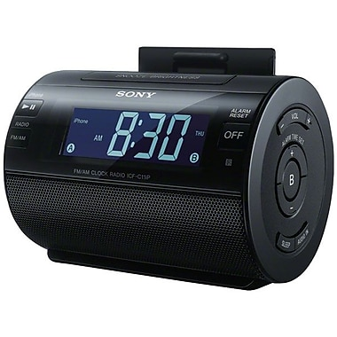Sony AM/FM Alarm Clock Radio With Lightning Connector For iPod/iPhone, Black