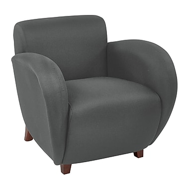 Office Star OSP Designs 31in.(H) Fabric Club Chair With Cherry Finish Legs, Grey