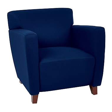 Office Star OSP Designs 30 3/4in.(H) Fabric Club Chair With Cherry Finish Legs, Navy
