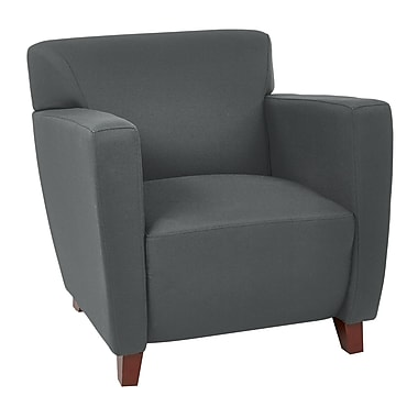 Office Star OSP Designs 30 3/4in.(H) Fabric Club Chair With Cherry Finish Legs, Grey