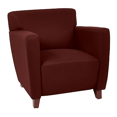 Office Star OSP Designs 30 3/4in.(H) Fabric Club Chair With Cherry Finish Legs, Burgundy