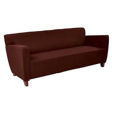 Office Star OSP Designs 30 3/4in. Fabric Custom Sofa With Cherry Finish Legs, Burgundy