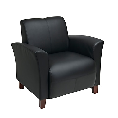 Office Star OSP Designs Eco Leather Breeze Club Chair With Cherry Finish Legs, Black