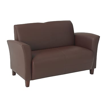 Office Star OSP Designs Eco Leather Love Seat With Cherry Finish Legs, Wine