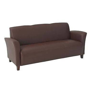 Office Star OSP Designs Eco Leather Sofas With Cherry Finish Legs