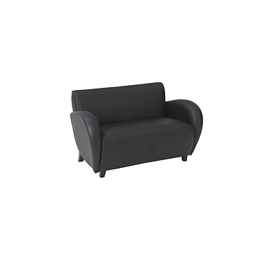 Office Star OSP Designs Leather Eleganza Love Seat With Mahogany Finish Legs, Black