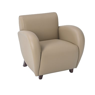 Office Star OSP Designs Eco Leather Eleganza Club Chair With Cherry Finish Legs, Taupe