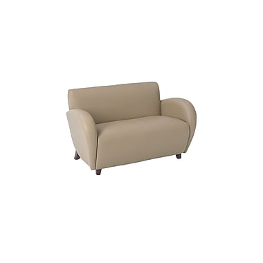 Office Star OSP Designs Eco Leather Eleganza Love Seat With Cherry Finish Legs, Taupe