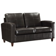 Office Star OSP Designs Eco Leather Love Seat With Espresso Finish Legs, Espresso