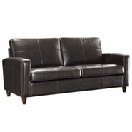 Office Star OSP Designs Eco Leather Sofa With Espresso Finish Legs, Espresso