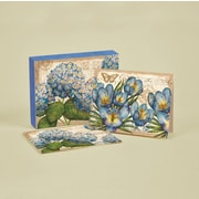 "LANG® 4"" x 5 1/4"" 12/Pack Blue Floral Deluxe Note Cards, 12/Set"