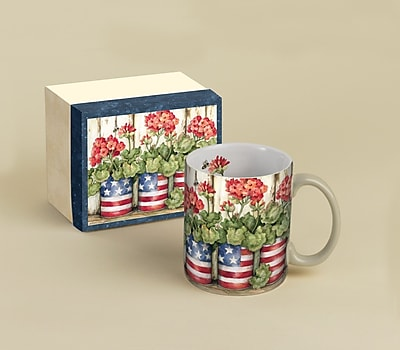 LANG Old Glory Patriotic Flowers 14 oz. Coffee Mug 258962
