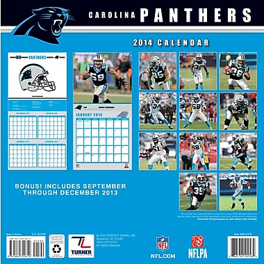 Turner Licensing® Carolina Panthers 2014 Team Wall Calendar, 12in. x 12in.