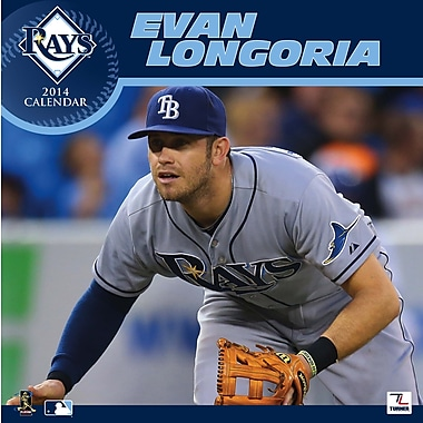 Turner Licensing® Tampa Bay Rays Evan Longoria 2014 Player Wall Calendar, 12in. x 12in.