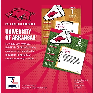 Turner Licensing® Arkansas Razorbacks 2014 Box Calendar, 5 1/4in. x 5 1/4in.