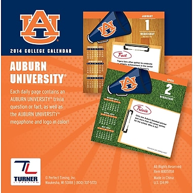 Turner Licensing® Auburn Tigers 2014 Box Calendar, 5 1/4in. x 5 1/4in.