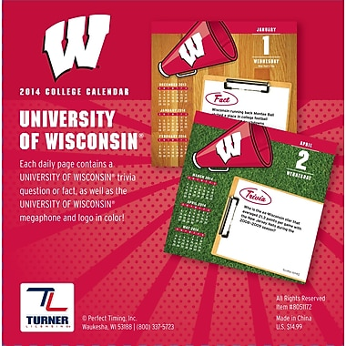 Turner Licensing® Wisconsin Badgers 2014 Box Calendar, 5 1/4in. x 5 1/4in.