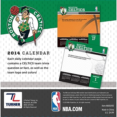 Turner Licensing® Boston Celtics 2014 Box Calendar, 5 1/4in. x 5 1/4in.