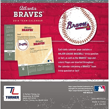 Turner Licensing® Atlanta Braves 2014 Box Calendar, 5 1/4in. x 5 1/4in.