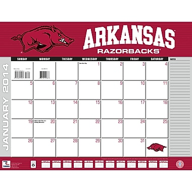 Turner Licensing® Arkansas Razorbacks 2014 Desk Calendar, 22in. x 17in.
