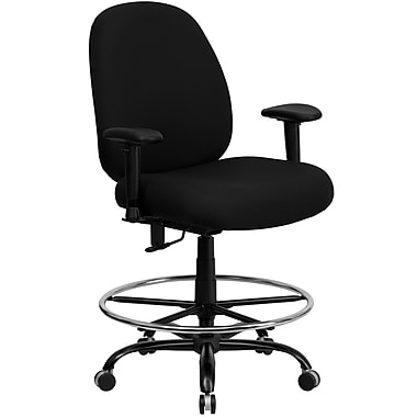 Flash Furniture HERCULES Series 400 lb. Capacity Big and Tall Fabric Drafting Stool with Arms and Extra WIDE Seat, Black