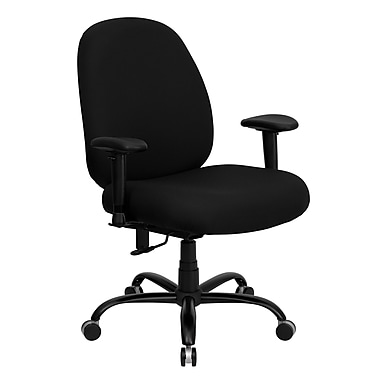 Flash Furniture Hercules™ Series Office Chairs with Arms and Extra Wide Seat, 500 lb Capacity, Black
