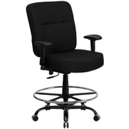 Flash Furniture HERCULES Series 400 lb. Capacity Big & Tall Fabric Drafting Stool with Arms and Extra WIDE Seat, Black