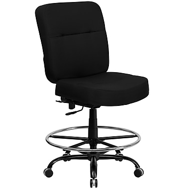 Flash Furniture Hercules™ Series 400 lb Big and Tall Drafting Stool wt Extra Wide Seat, Black Fabric
