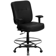 Flash Furniture HERCULES Series 400 lb. Capacity Big & Tall Leather Drafting Stool with Arms and Extra WIDE Seat, Black