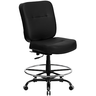 Flash Furniture Hercules™ Series Leather Big and Tall Drafting Stool with Extra Wide Seat, Black
