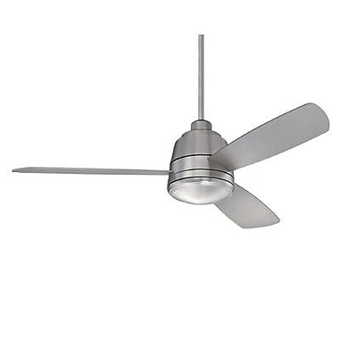 Savoy House 52'' The Polaris 3 Blade Ceiling Fan with Remote; Satin Nickel with Silver Blades