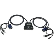 Manhattan™ Black Audio Support Mini KVM Switch, 2-Ports (151245)