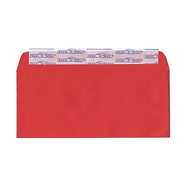 Jam® 4 1/8in. x 9 1/2in. Brite Hue Recycled Envelopes w/Peal & Seal Closure, Christmas Red, 25/Pack