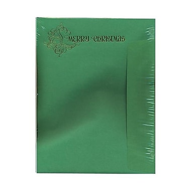 JAM Paper® 8 1/2in. x 11in. Embossed Merry Christmas Letterhead (50ea) & Envelopes (50ea), 1 Box