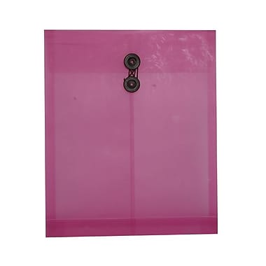JAM Paper® Plastic Envelopes, Button String Tie Closure, Letter Open End, 9.75 x 11.75, Pink Frosted Poly, 120/ct (118B1PIFRB)